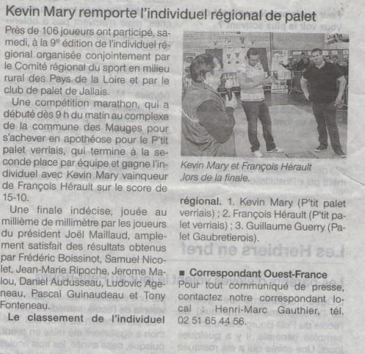 Kevin Mary remporte l'individuel régional de palet 05-11-12