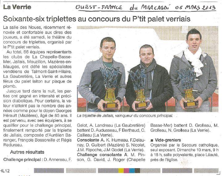 Soixante-six triplette au concours du P'tit palet verriais 2013