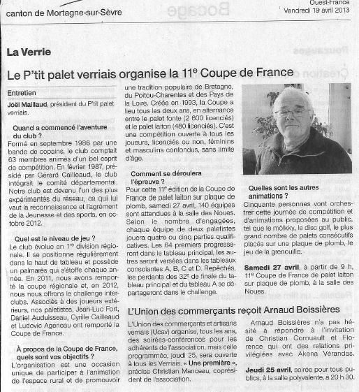 Le P'tit palet verriais organise la 11ème coupe de france en 2013