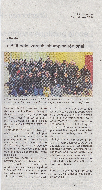Le P'tit Palet Verriais champion régional