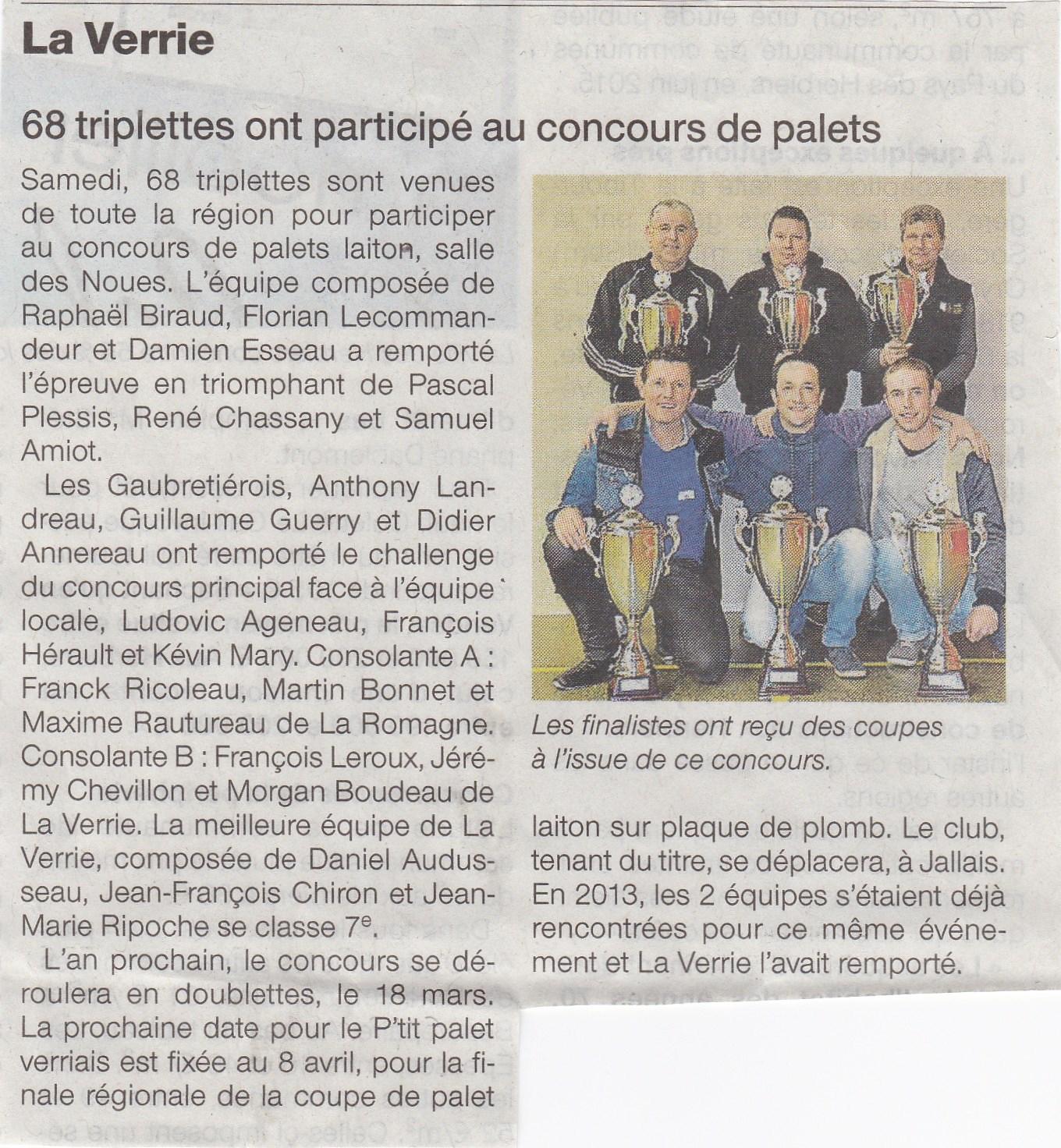 CONCOURS DE MARS : 68 triplettes ont participé au concours